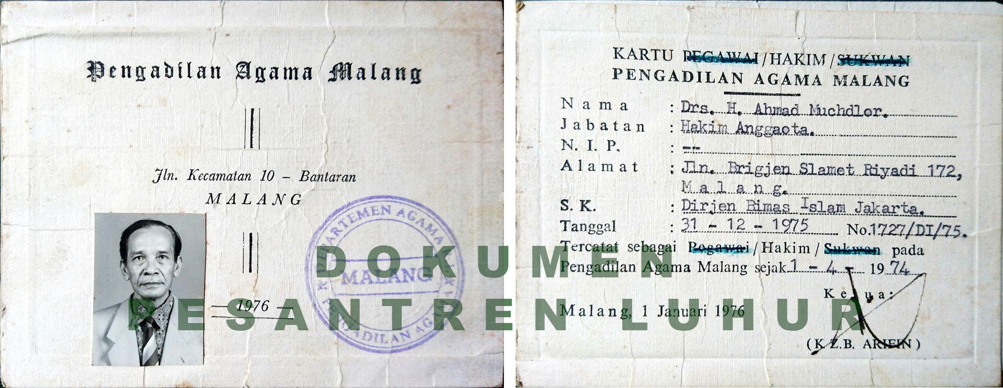 Salah satu dokumen Pesantren Luhur berupa Kartu Hakim Pengadilan Agama Malang milik Abah Mudlor